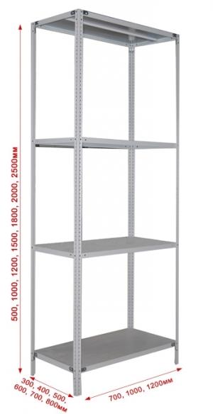 Стеллаж металлический сборный 284-2.5 купить на выгодных условиях в Брянске