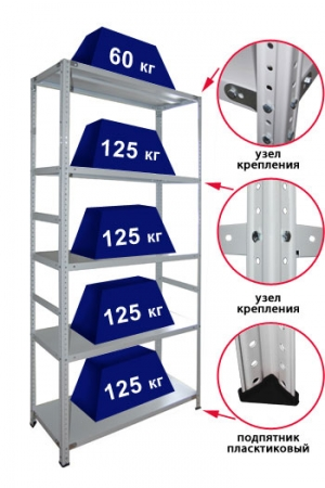Стеллаж металлический сборный 285-2.5 купить на выгодных условиях в Брянске